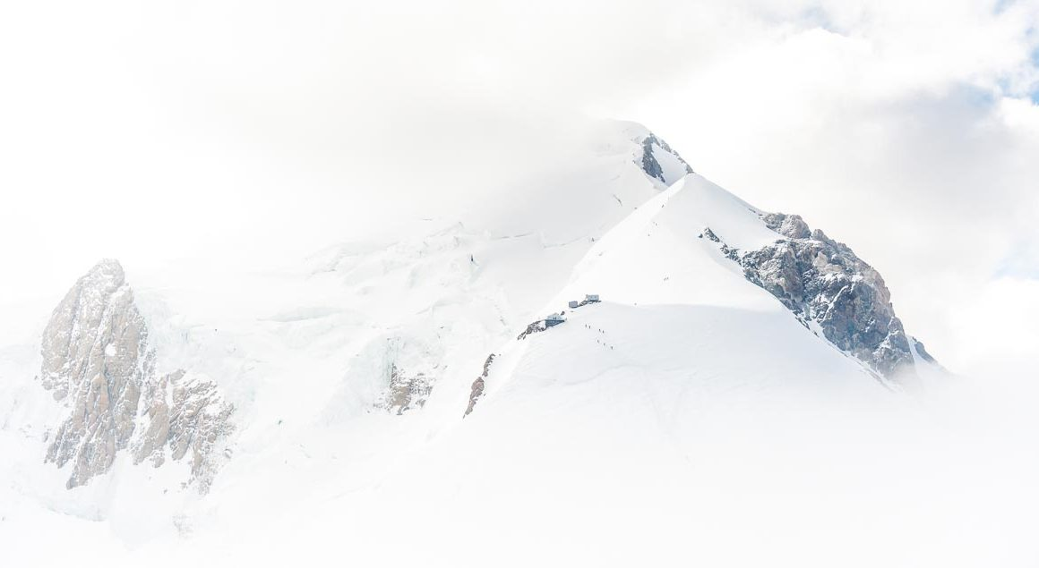 View of the summit of Mont Blanc shrouded in clouds