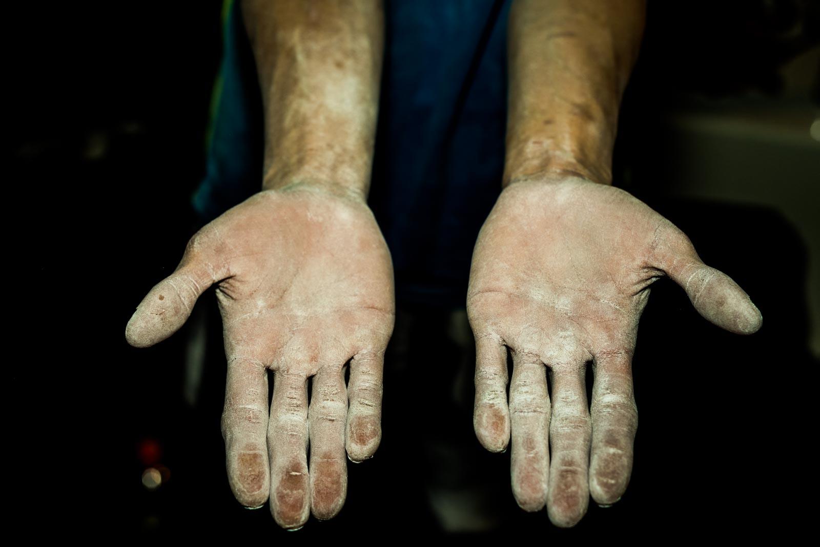 Hands of Korean climber Jongwon Chon