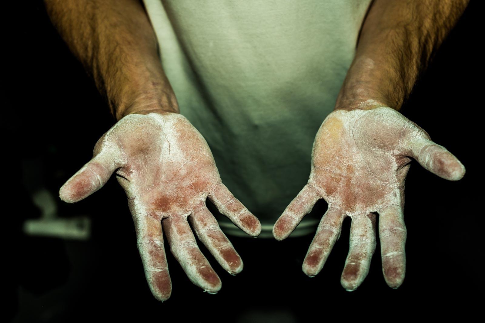Hands of USA climber Carlo Traversi