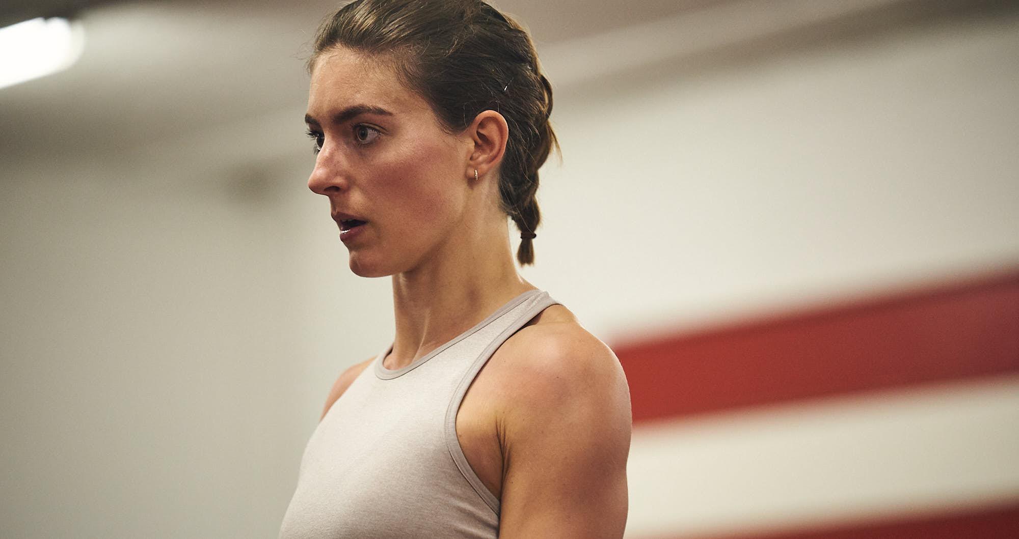 Close-up of hurdles athlete Bianca Baak