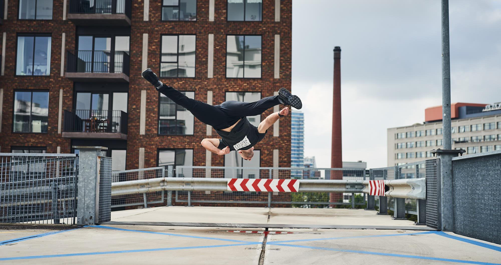 Kelian Cieslak performing a trick on Strijp-S in Eindhoven