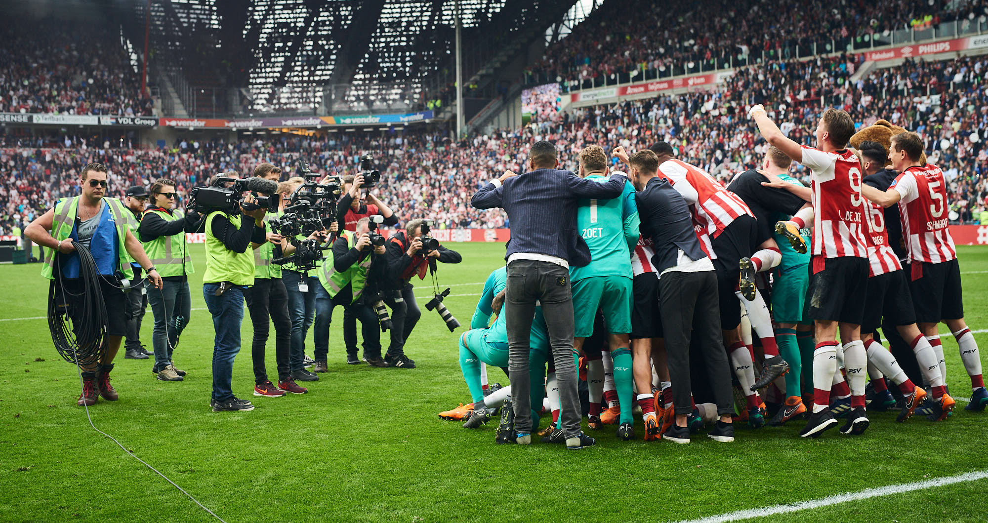 PSV Eindhoven first team takes a group photo in the Philips Stadium