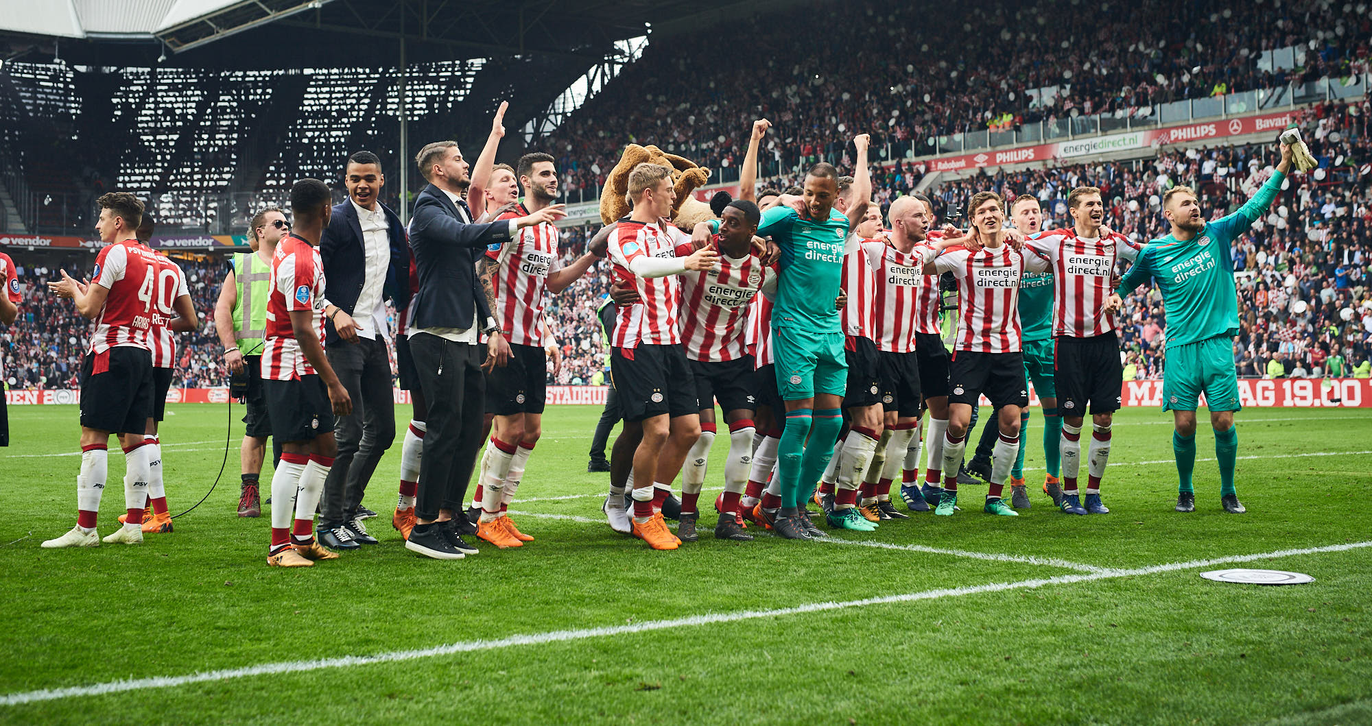 PSV Eindhoven football team celebrates winning the Eredivisie title