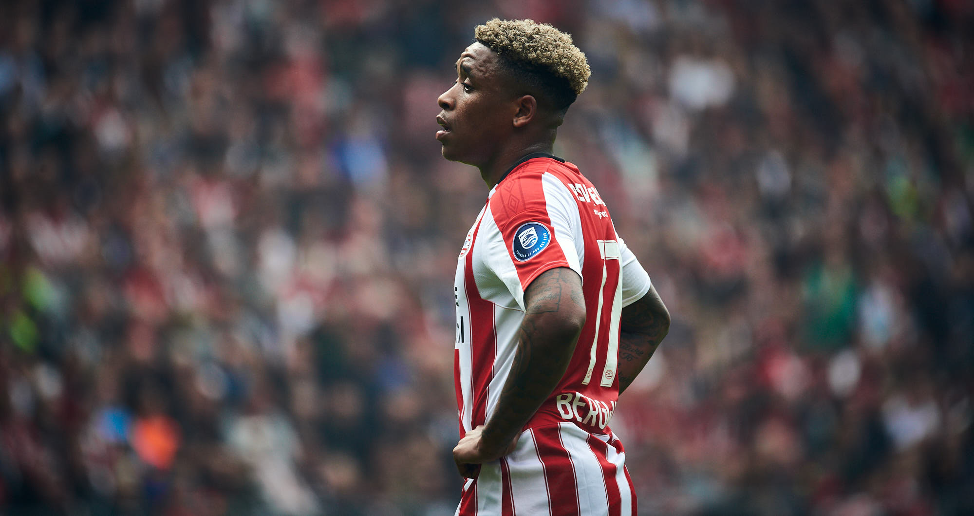 Focus on the face of Steven Bergwijn before a free kick