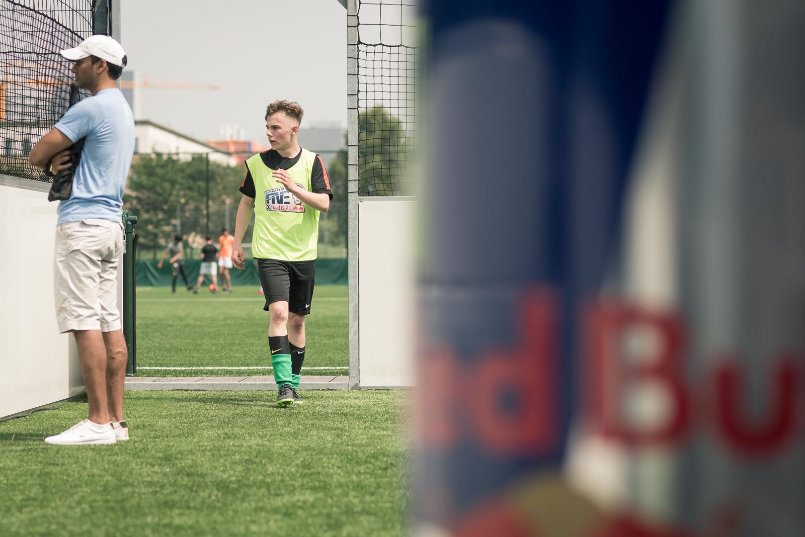 Player walking towards a life size can during Red Bull Neymar Jr's Five