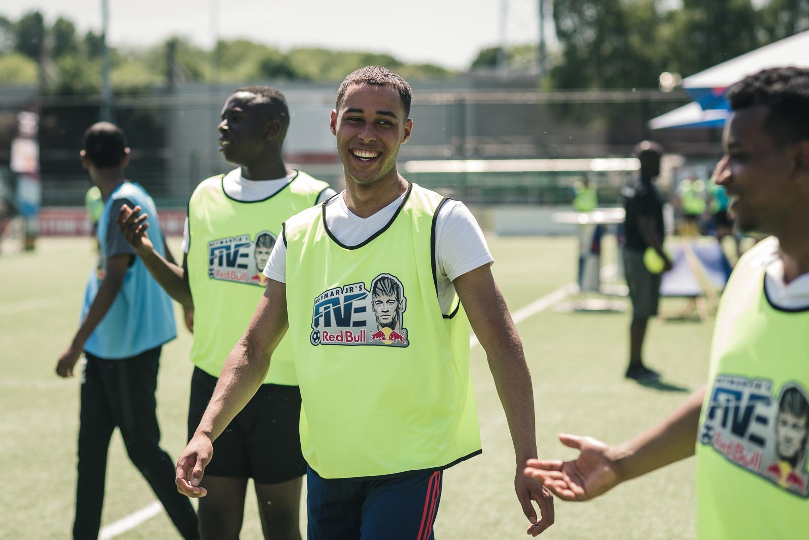 All smiles for these football players during Red Bull Neymar Jr's Five in Holland