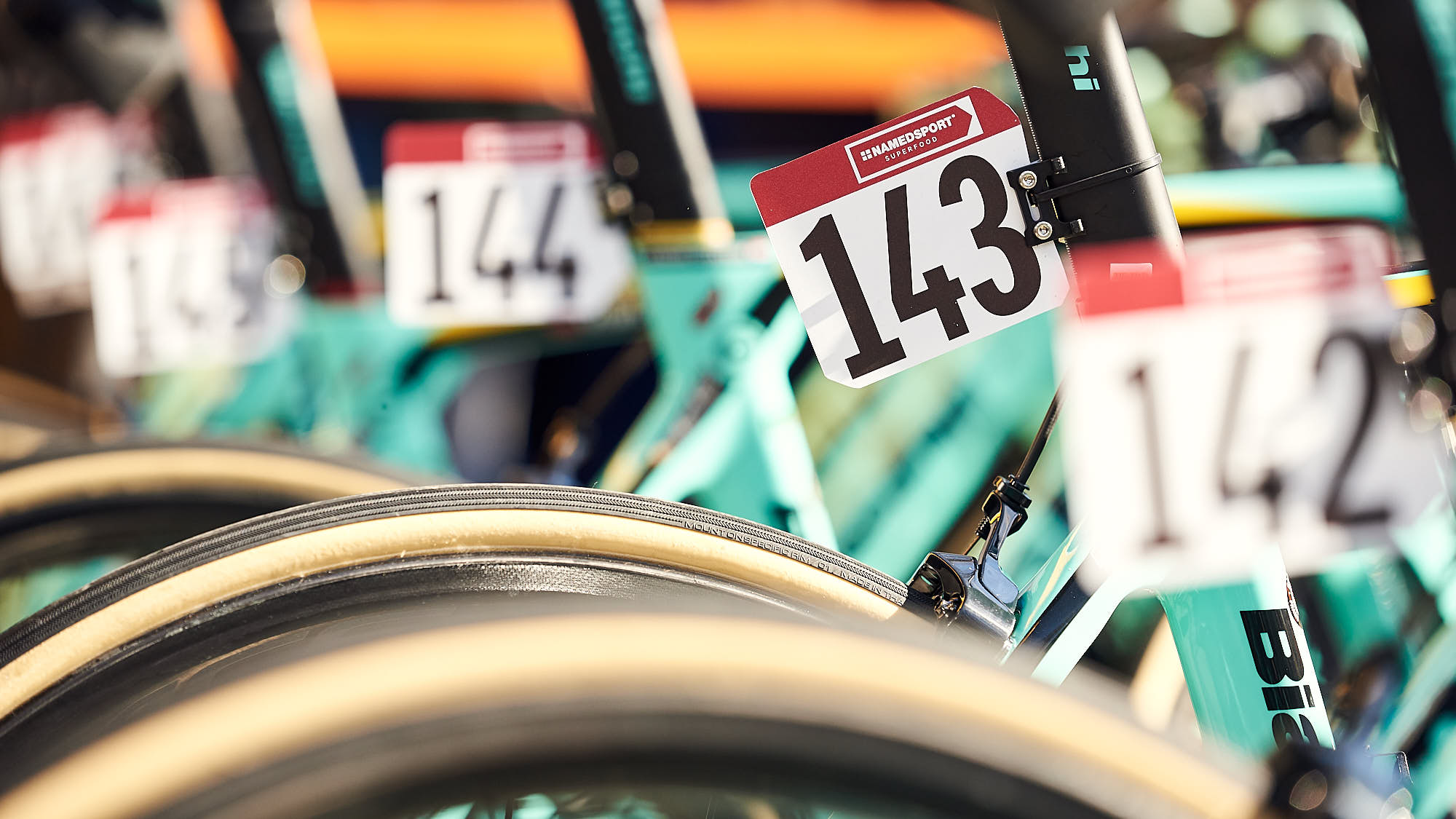 Tags on Jumbo-Visma's Bianchi bikes for Strade Bianche
