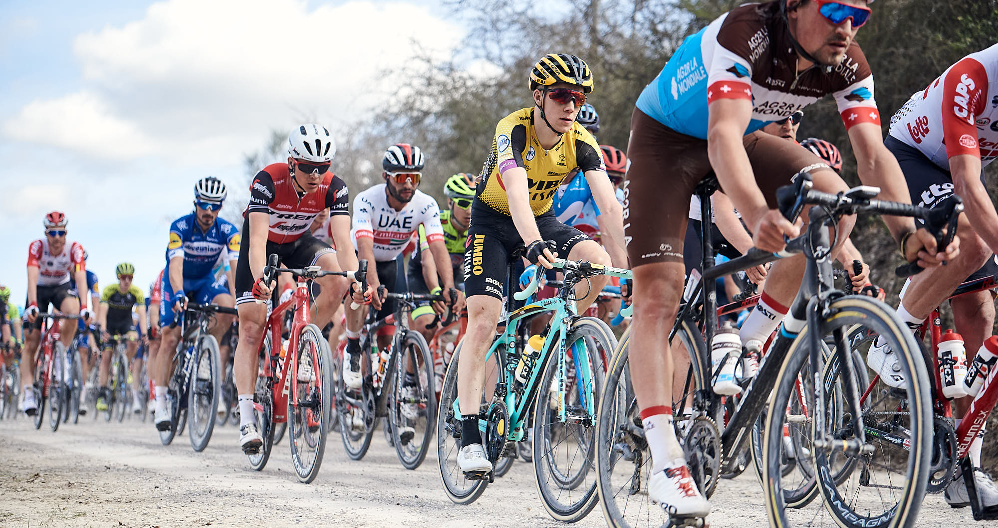 Peloton during Strade Bianche