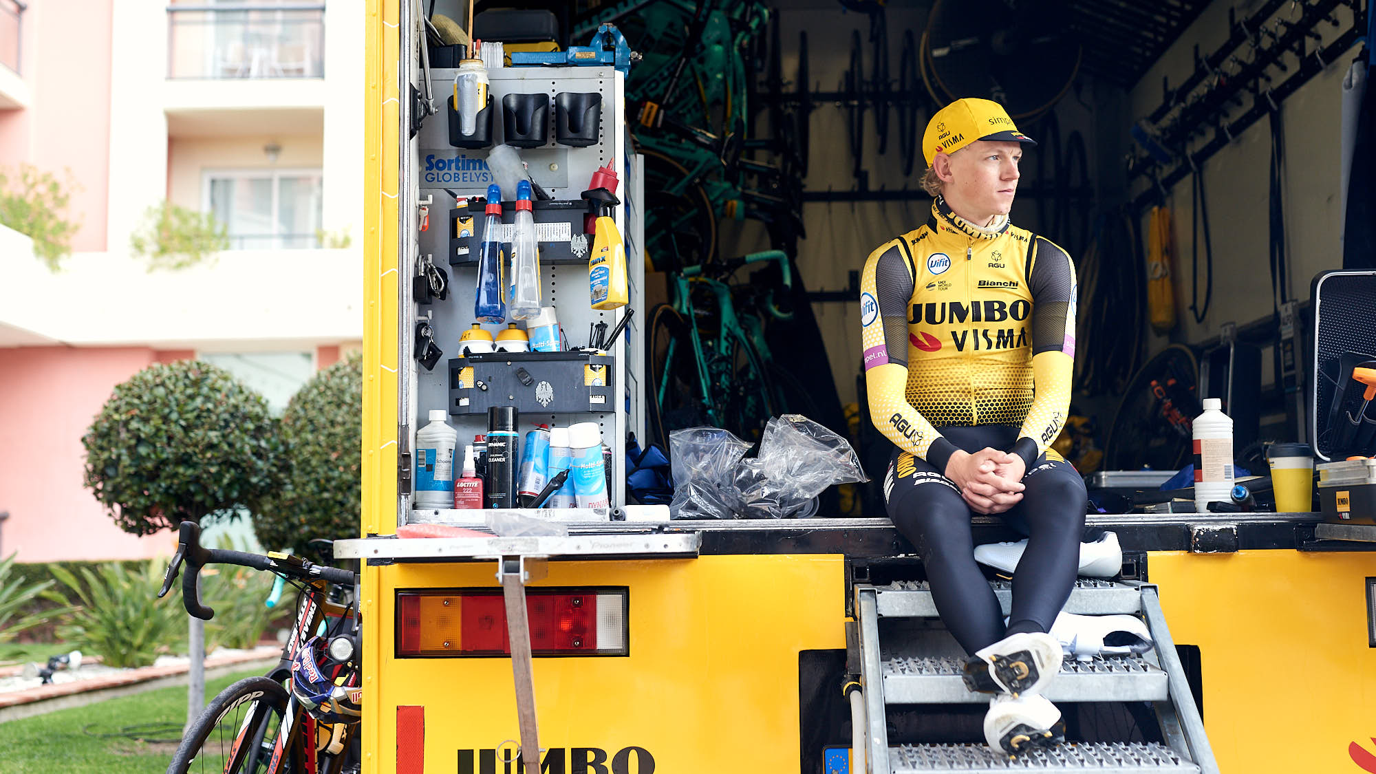 Cyclist Koen Bouwman in the mechanics' truck before training