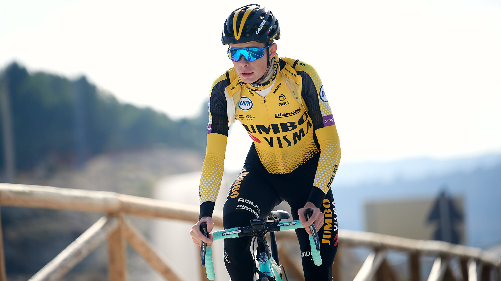 Danish Jumbo-Visma rider Jonas Vingegaard training near Alicante