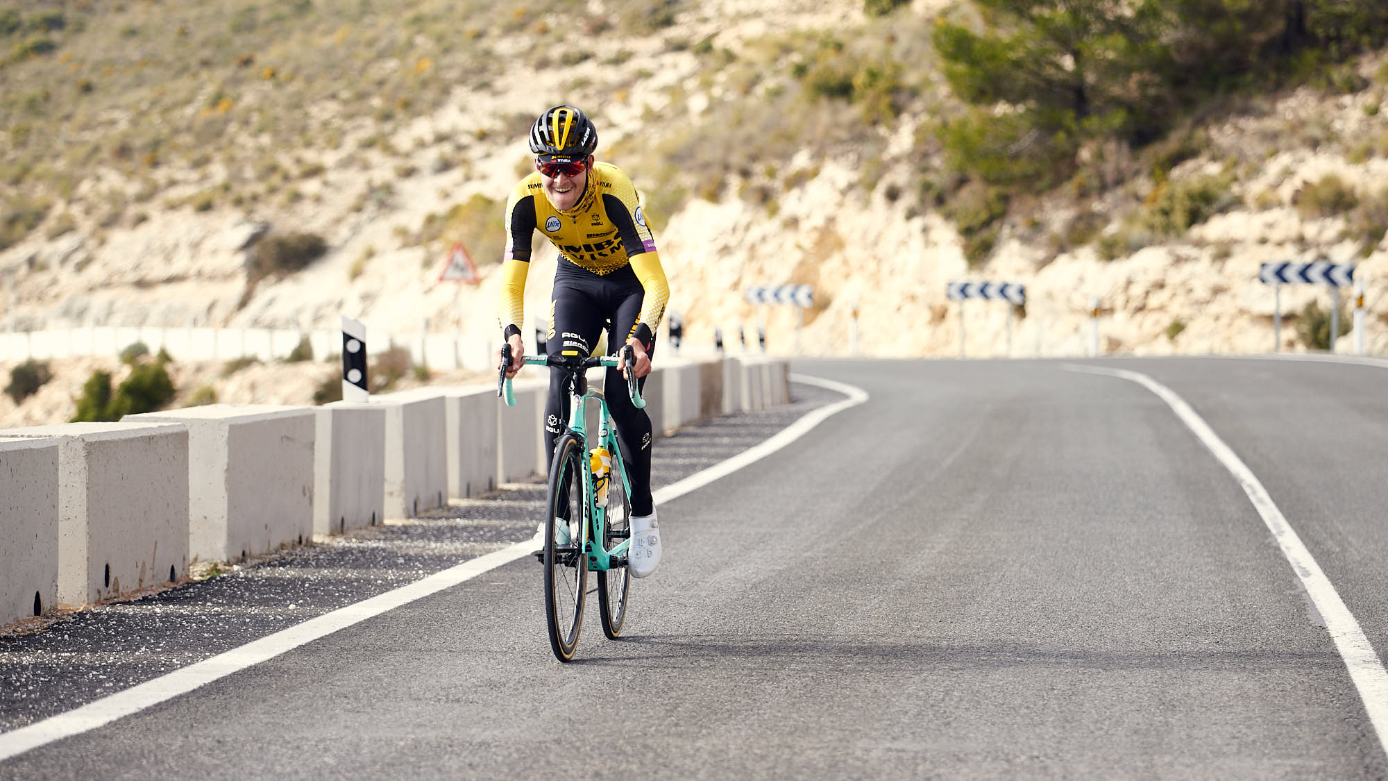 Jumbo-Visma's Belgian cyclists Laurens de Plus during training in Spain