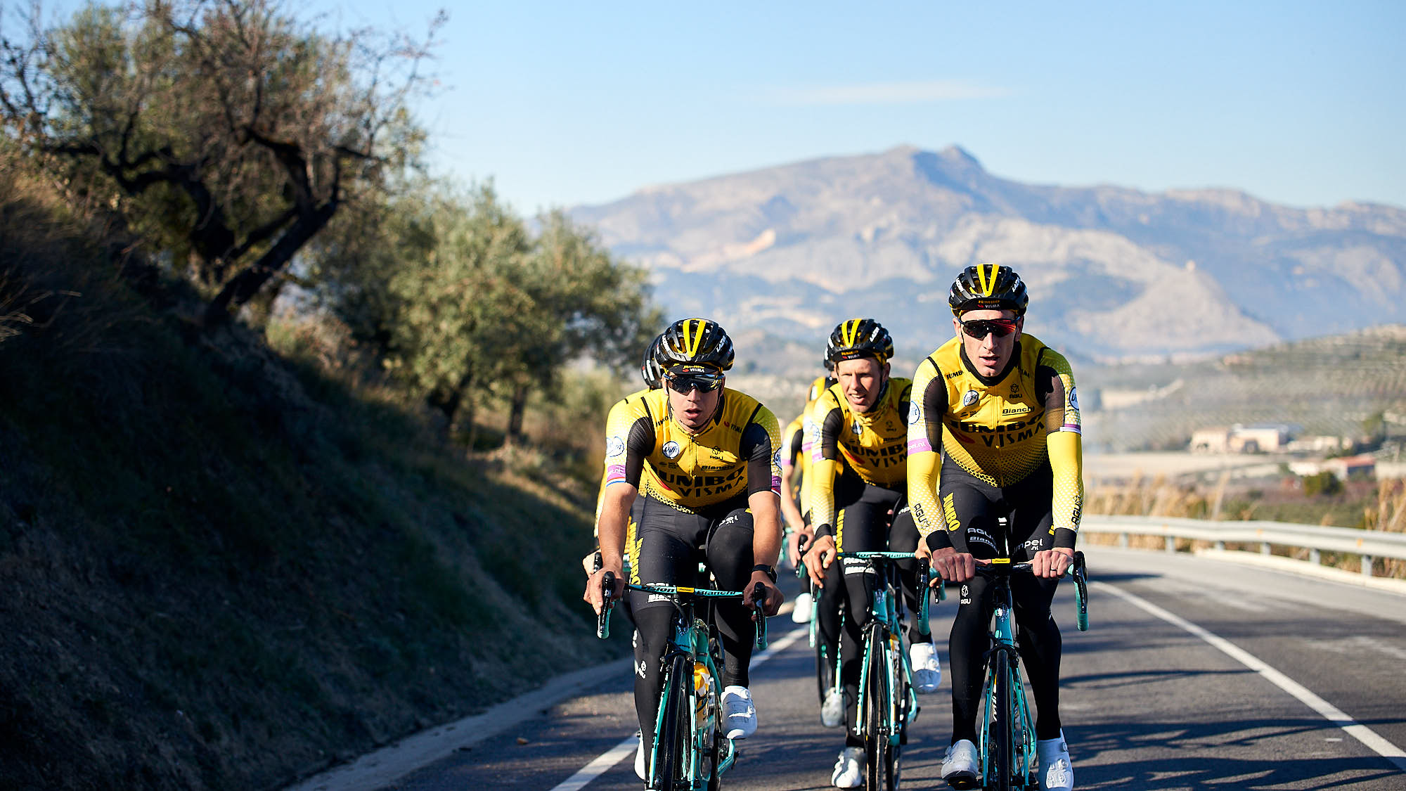 Jumbo-Visma riders during training in Spain