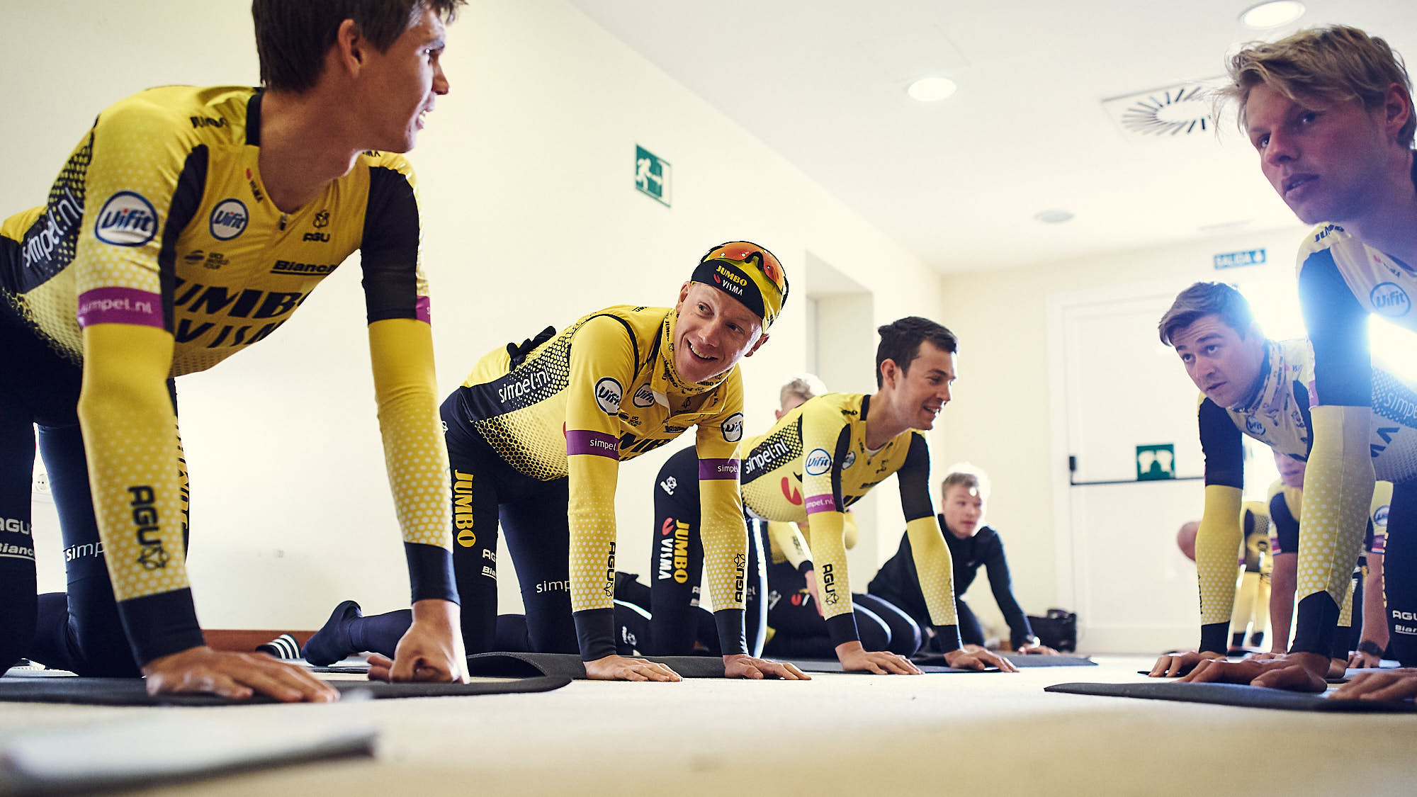 Jumbo-Visma cyclists during a core session