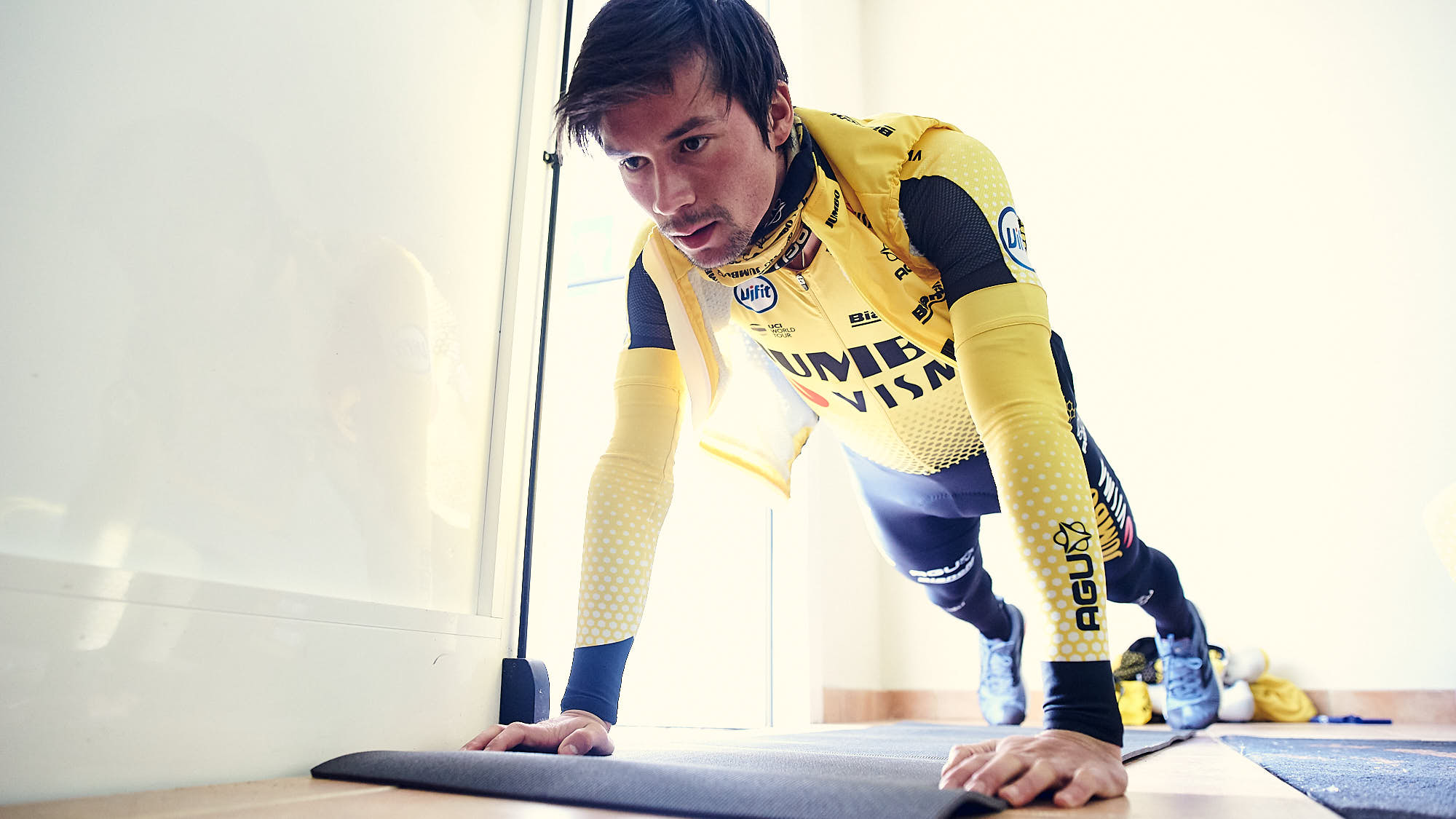 Jumbo-Visma cyclist Primoz Roglic during a core session