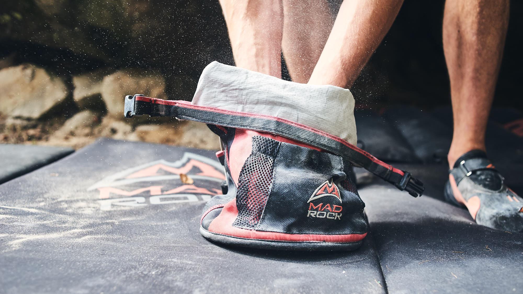Mad Rock chalk bag on a crashpad