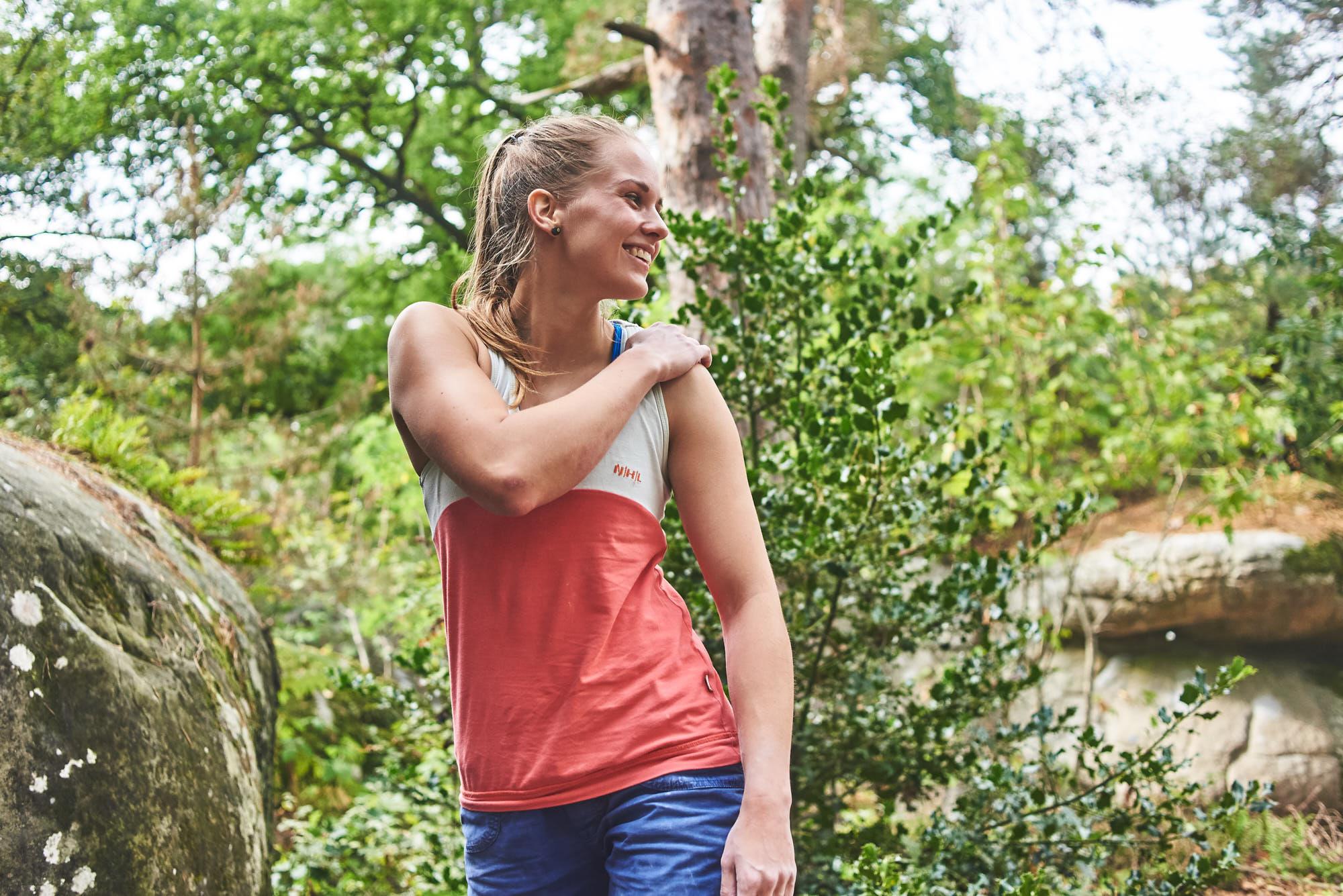 Mad Rock climber Agnietė Šeibokaitė in Fontainebleau