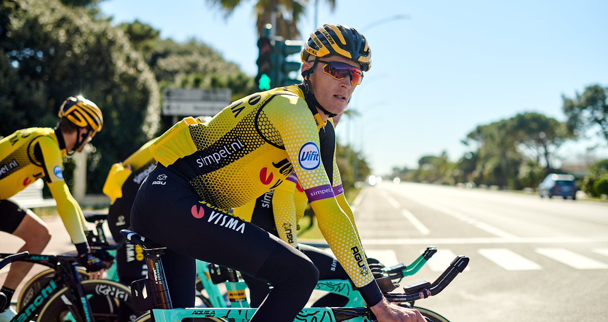 Dutch cyclist Robert Gesink heads out for training in Italy