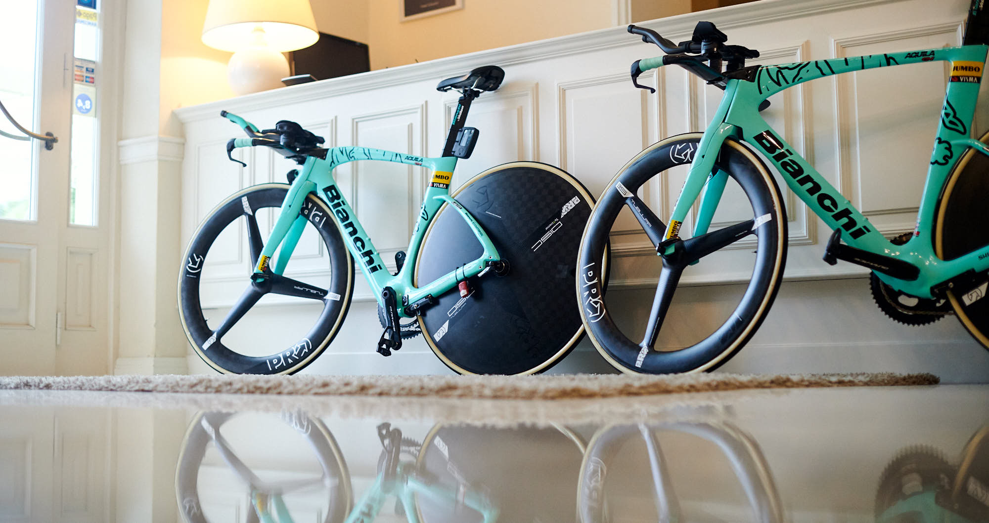 Bianchi time trial bikes in a hotel lobby