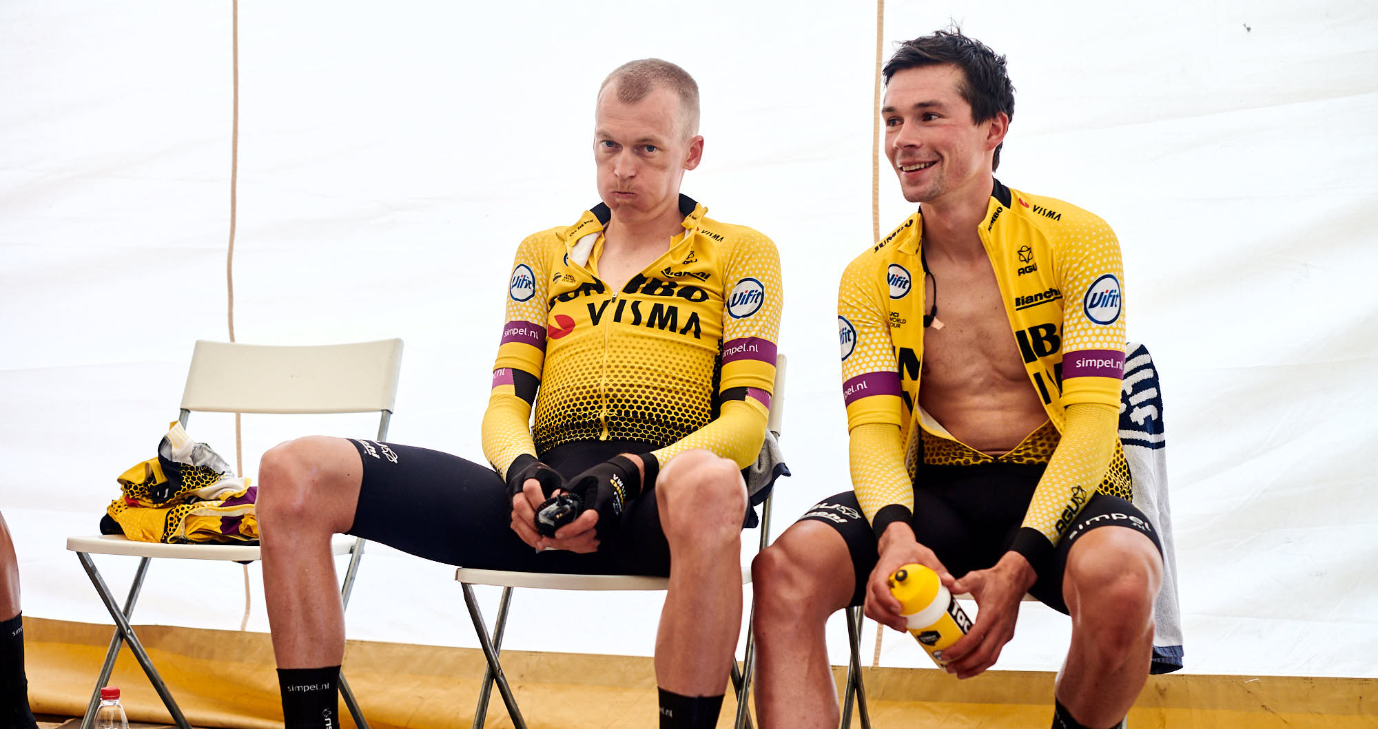 Primoz Roglic and Robert Gesink after finishing