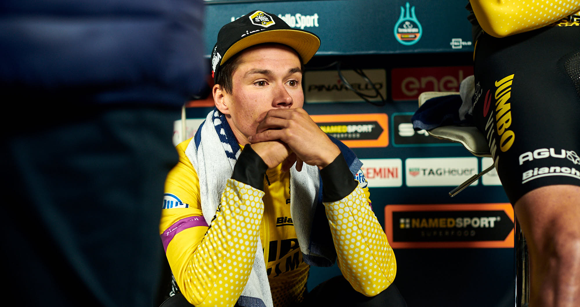Primoz Roglic after only just losing the team time trial in Tirreno-Adriatico