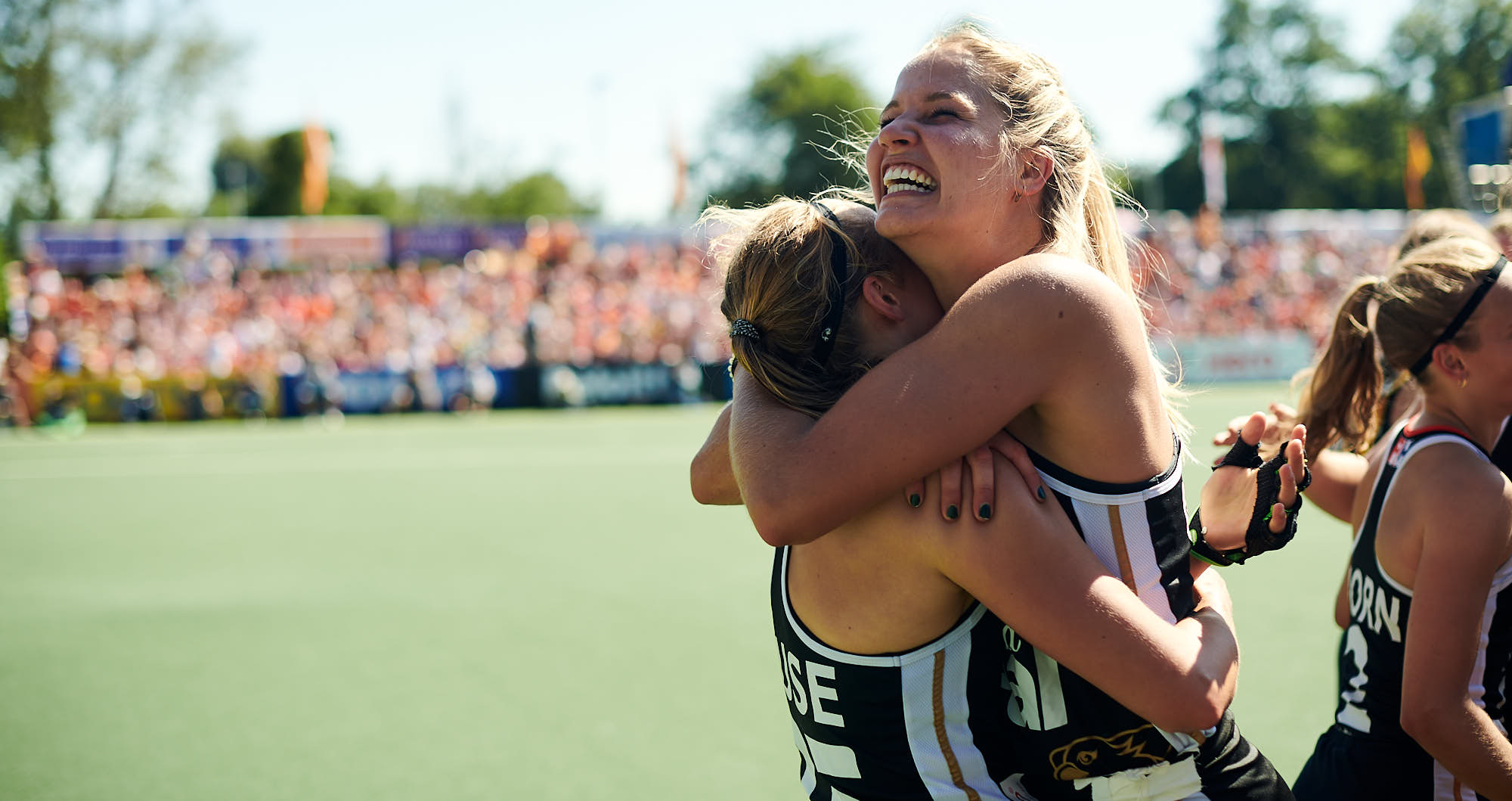 German hockey players embrace during FIH Pro league finals in Amsterdam