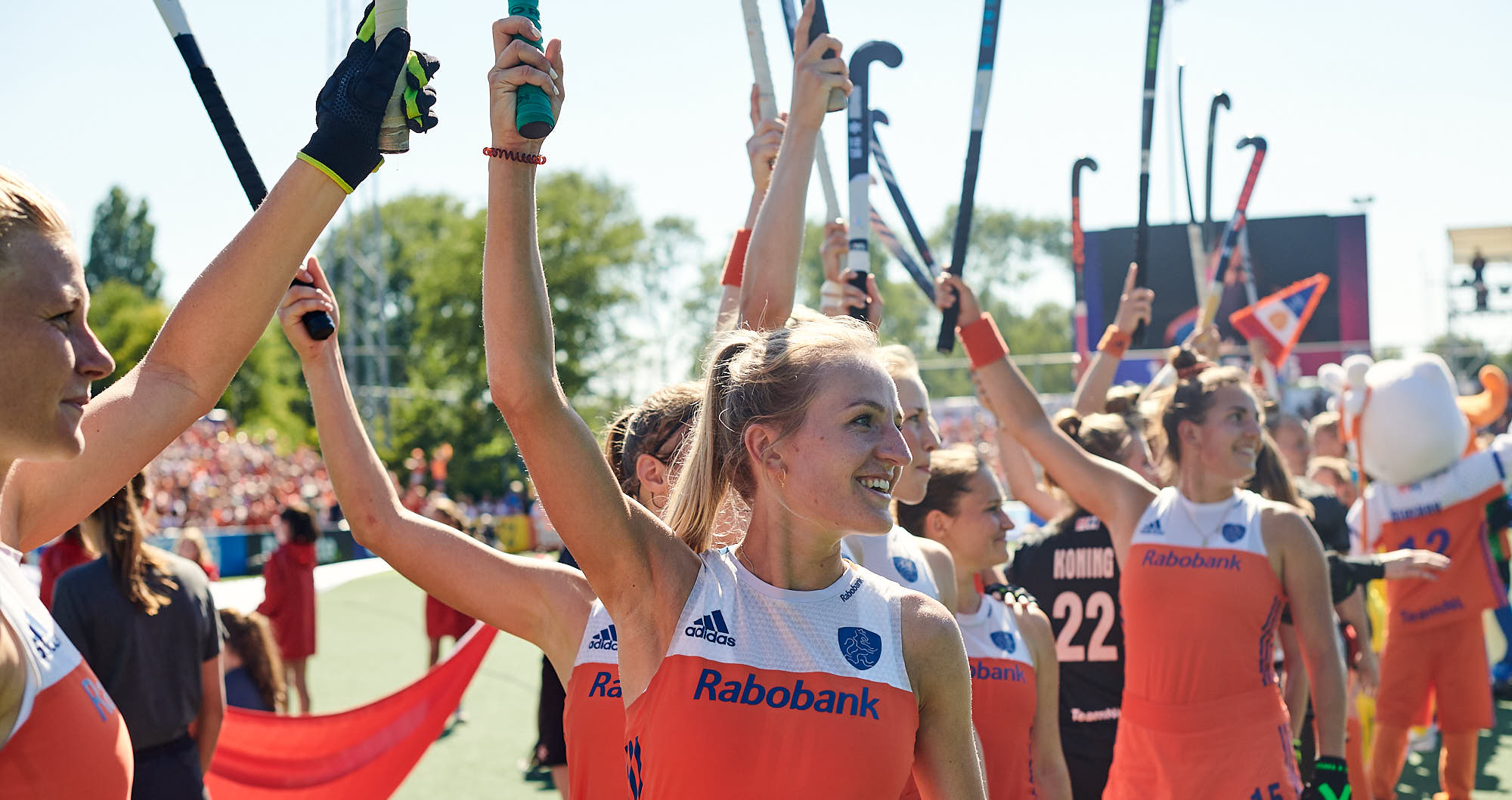 Holland national hockey team players including Sanne Koolen before FIH Pro league finals in Amsterdam