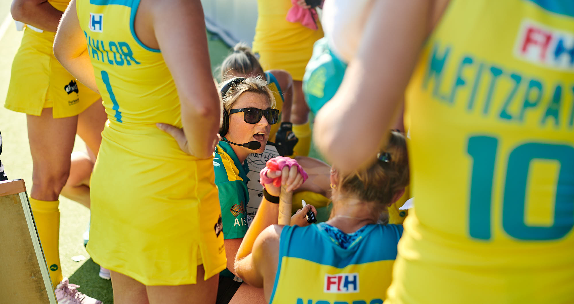 Australian national hockey team coach giving instructions during the 2019 FIH Pro league finals in Amsterdam