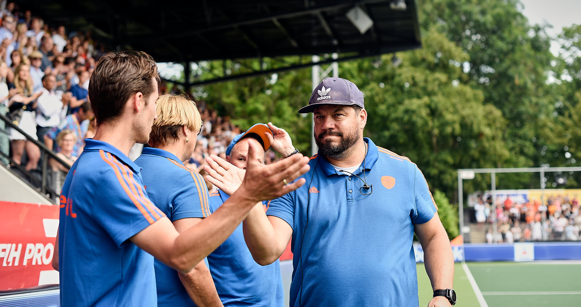 Dutch national hockey team coaches during the 2019 FIH Pro League Finals in Amsterdam