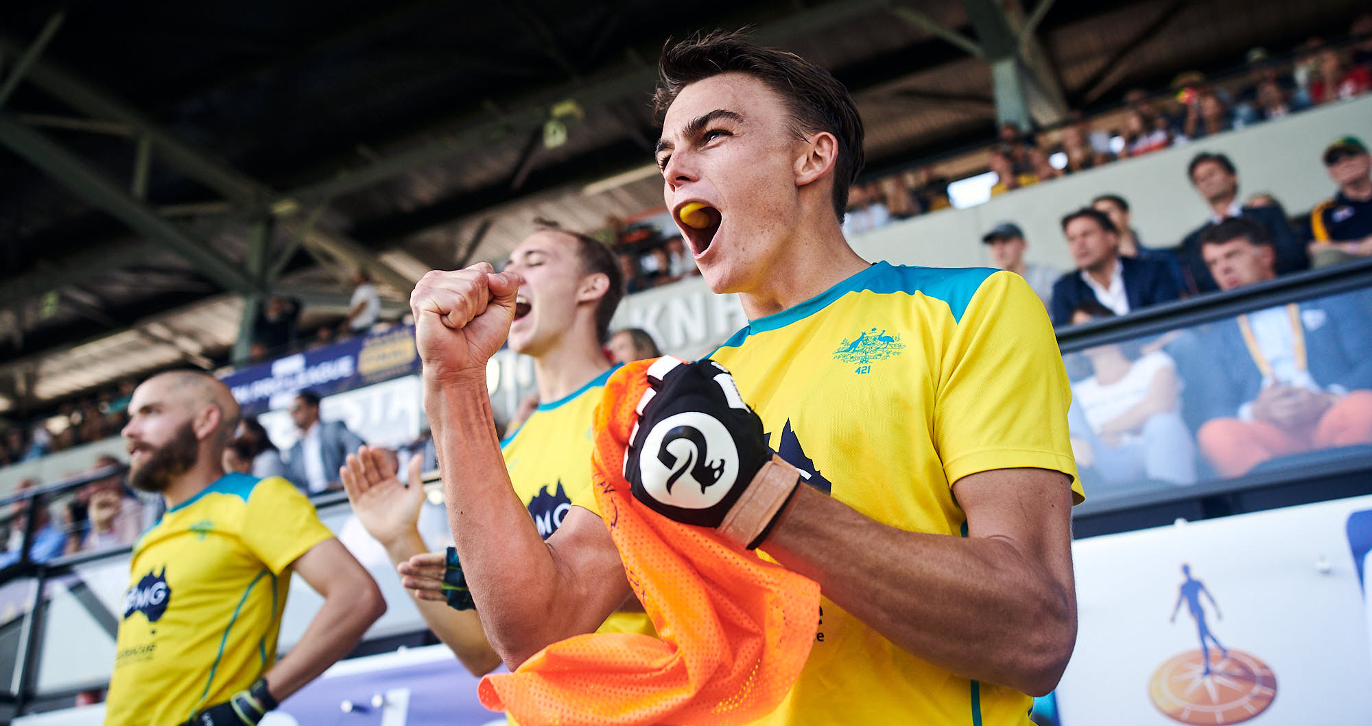 Australian hockey players cheering during 2019 FIH Pro League finals in Amsterdam
