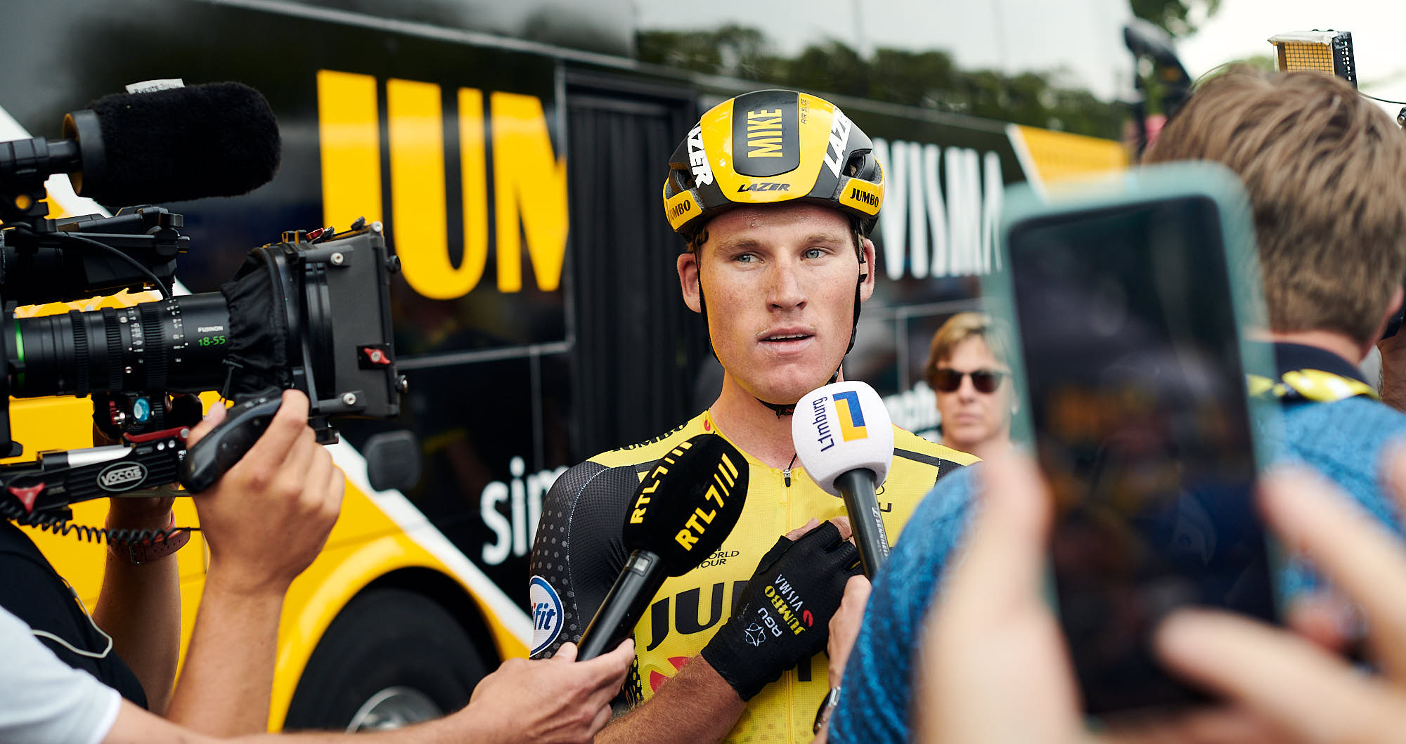 Mike Teunissen at the Jumbo-Visma bus before learning he won the first 2019 Tour de France stage