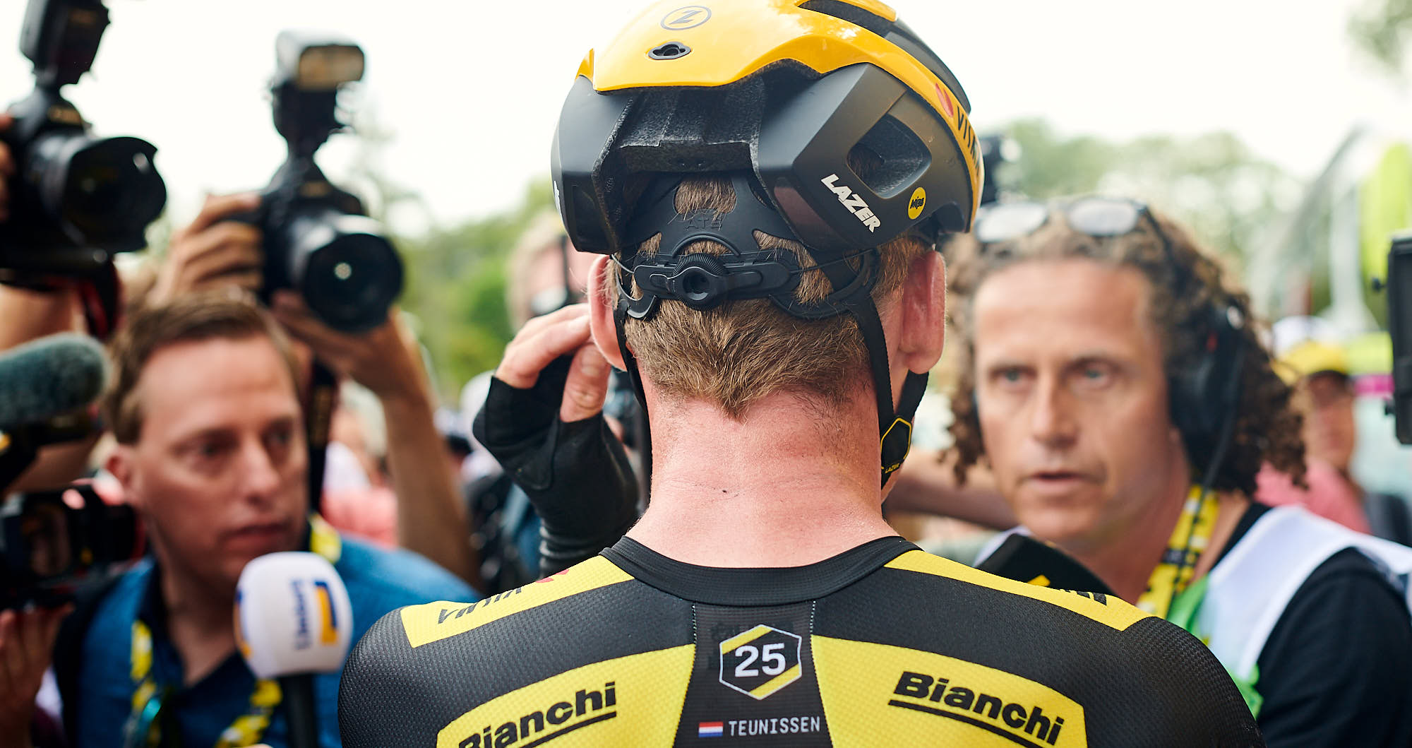 Back view of Mike Teunissen in Brussels at the 2019 Tour de France