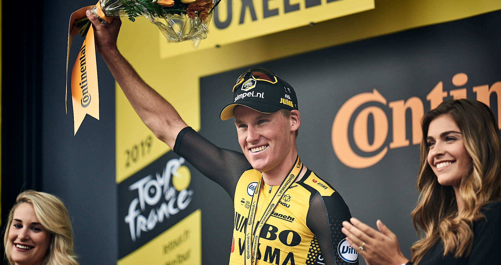 Mike Teunissen on the 2019 Tour de France stage 1 podium in Brussels