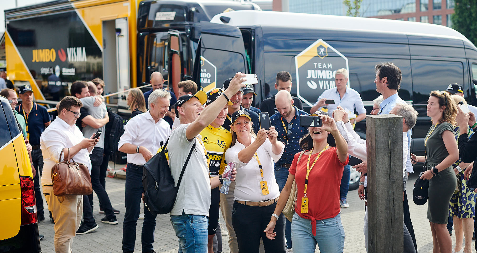 Fans taking their photo with Tour de France stage victor Mike Teunissen