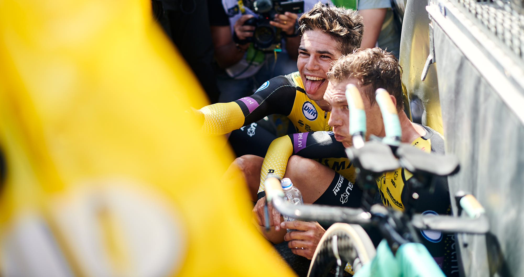 Belgian cyclist Wout van Aert celebrating after winning the 2019 Tour de France team time trial