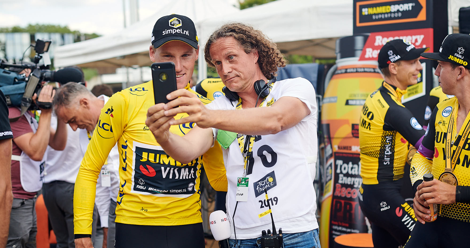 Jumbo-Visma rider Mike Teunissen and Han Kok in Brussels during the 2019 Tour de France