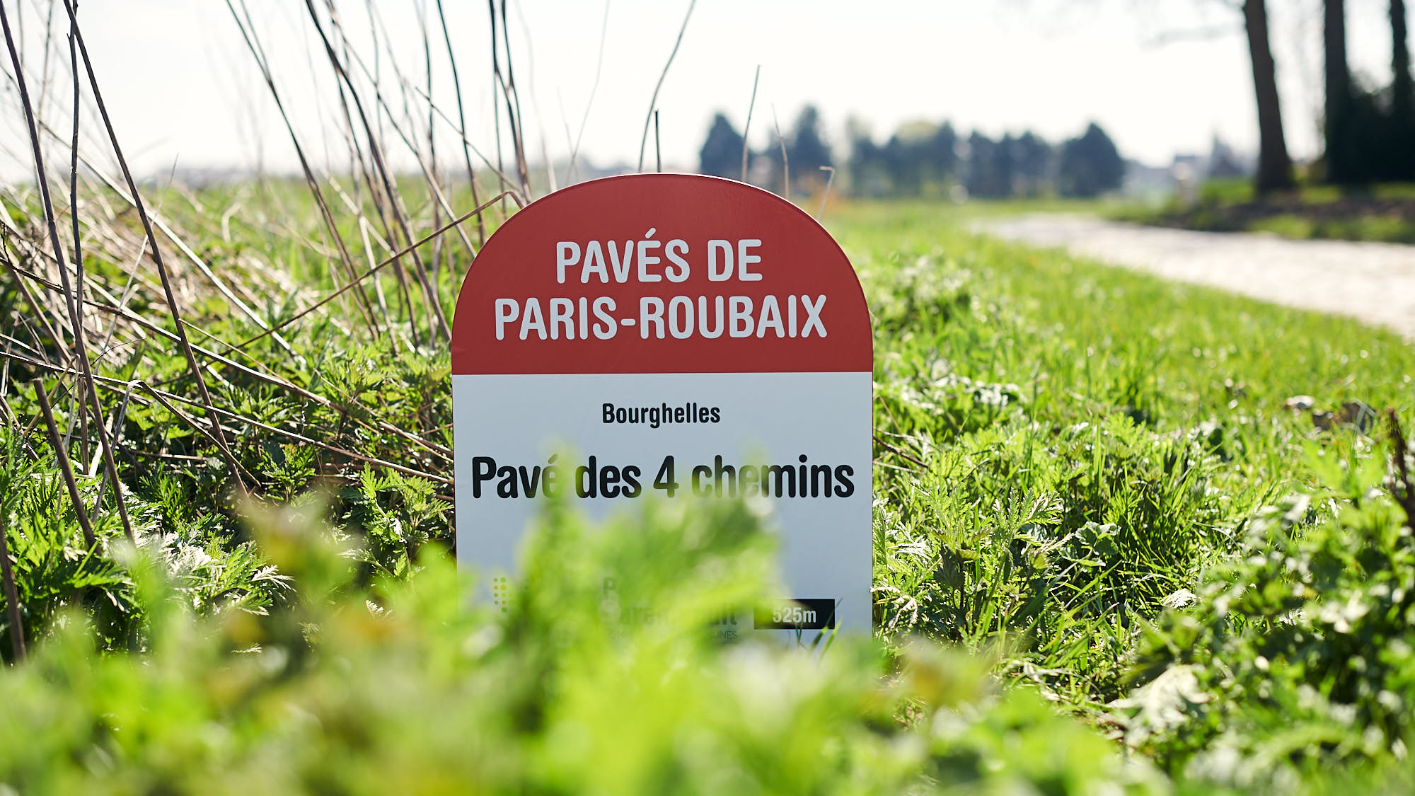 Paris-Roubaix cobbles section sign