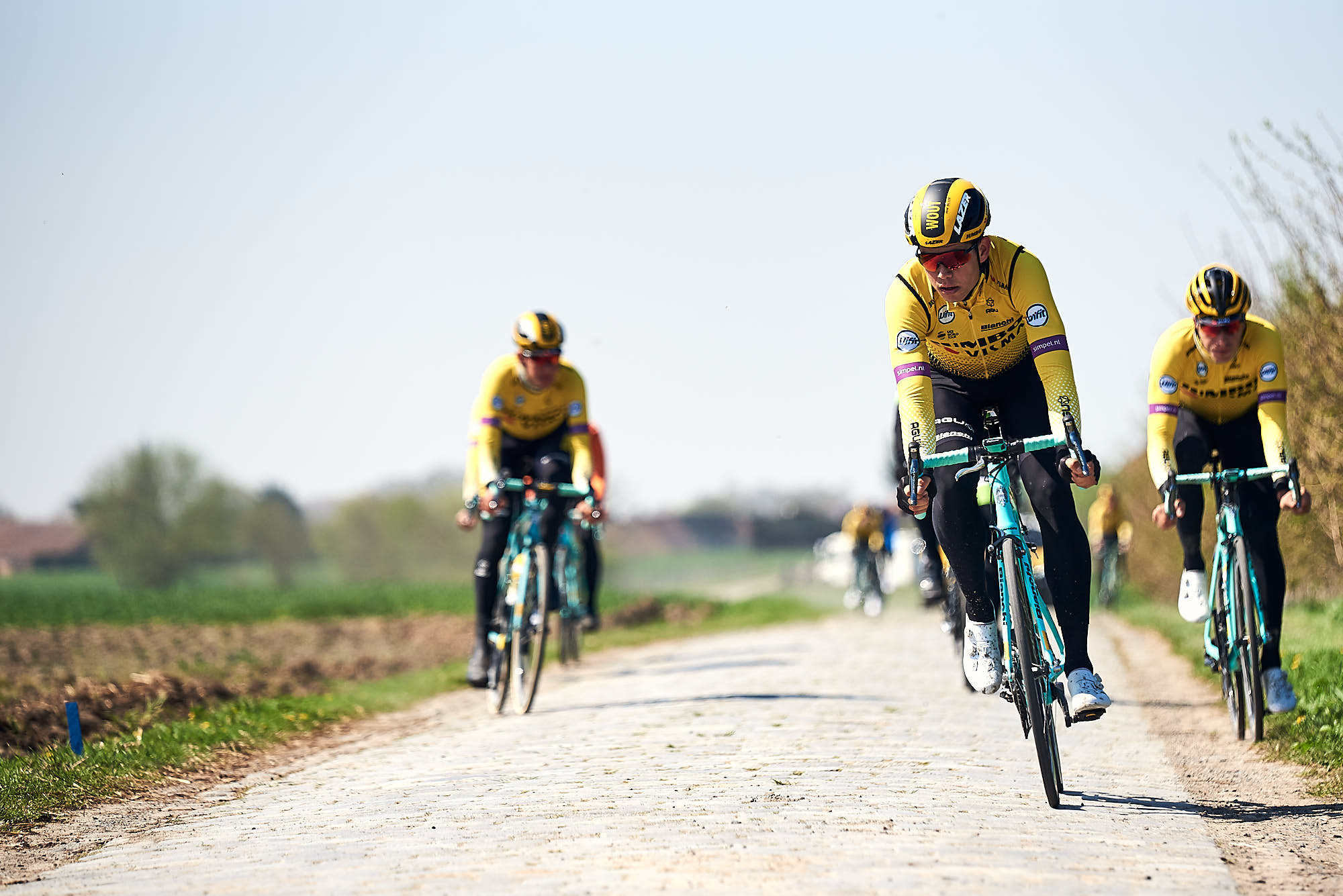 Jumbo-Visma classics riders including Wout van Aert doing recon of Paris-Roubaix