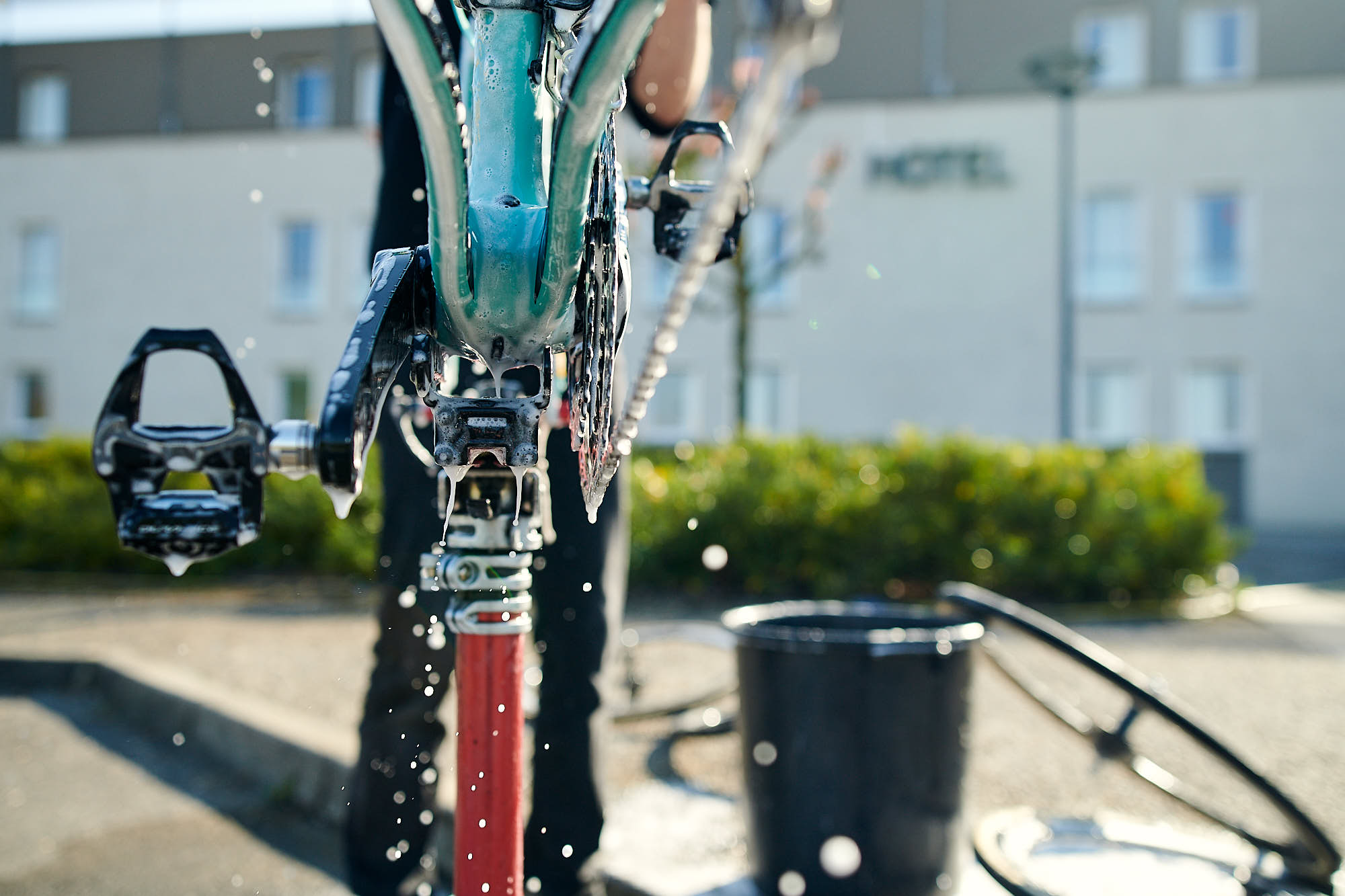 Bike being washed before Paris-Roubaix in Compiegne