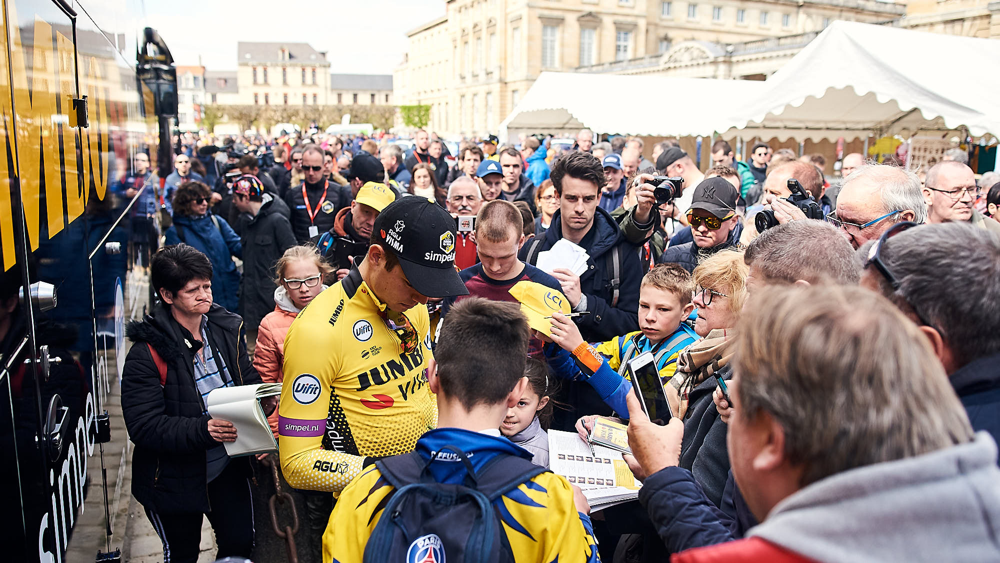 Wout van Aert outside the Jumbo-Visma team bus before Paris-Roubaix