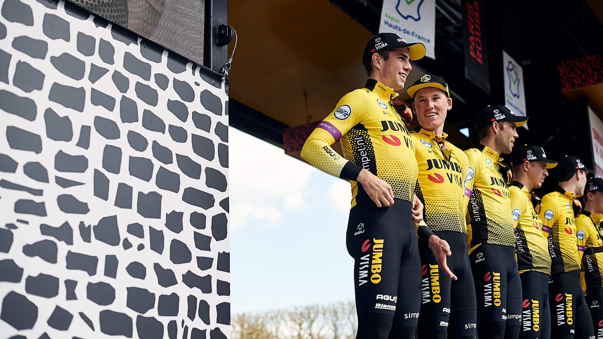 Mike Teunissen and Wout van Aert during Paris-Roubaix team presentations