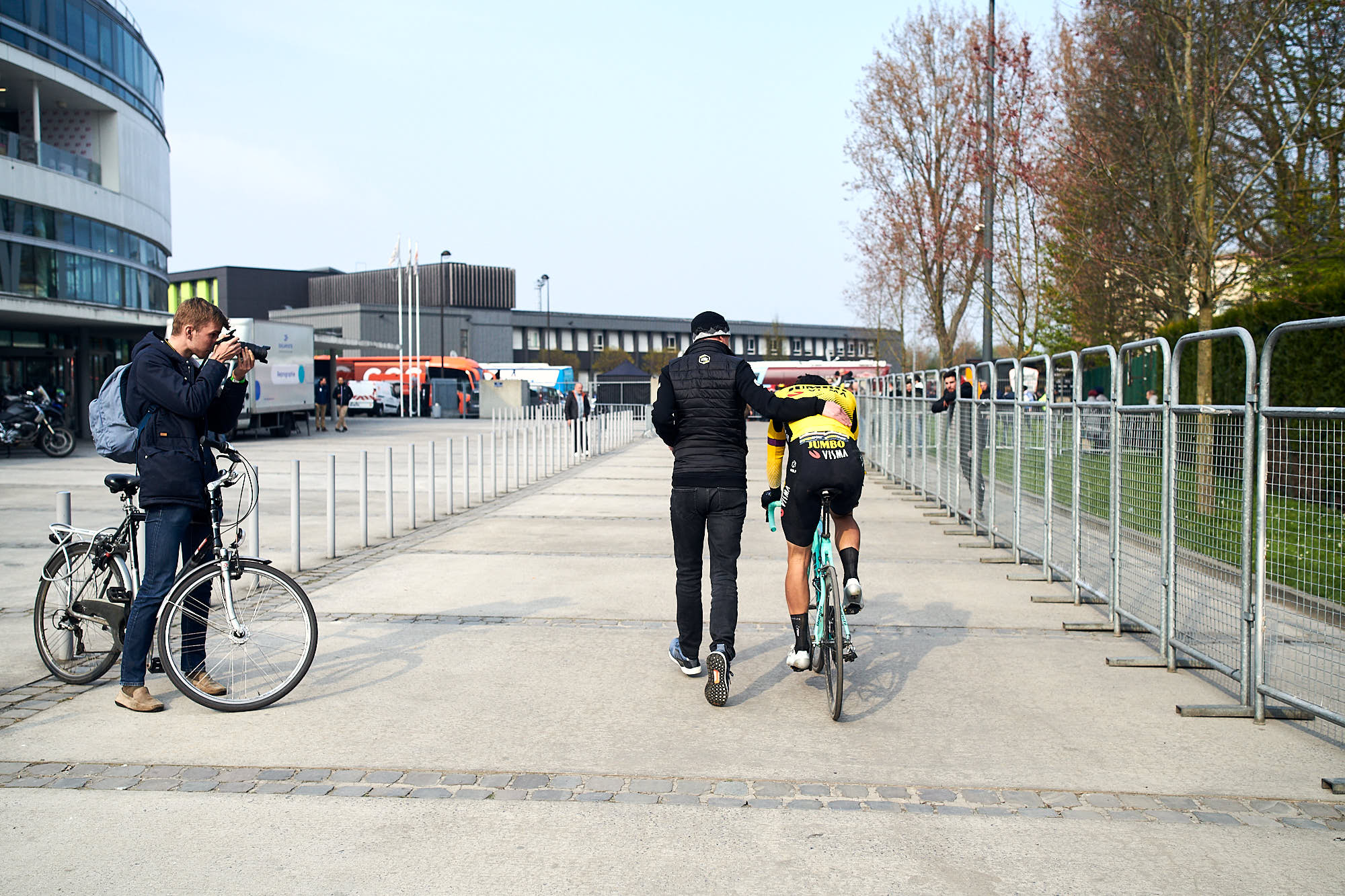 Team Jumbo-Visma cyclist Wout van Aert leaving the Roubaix Velodrome