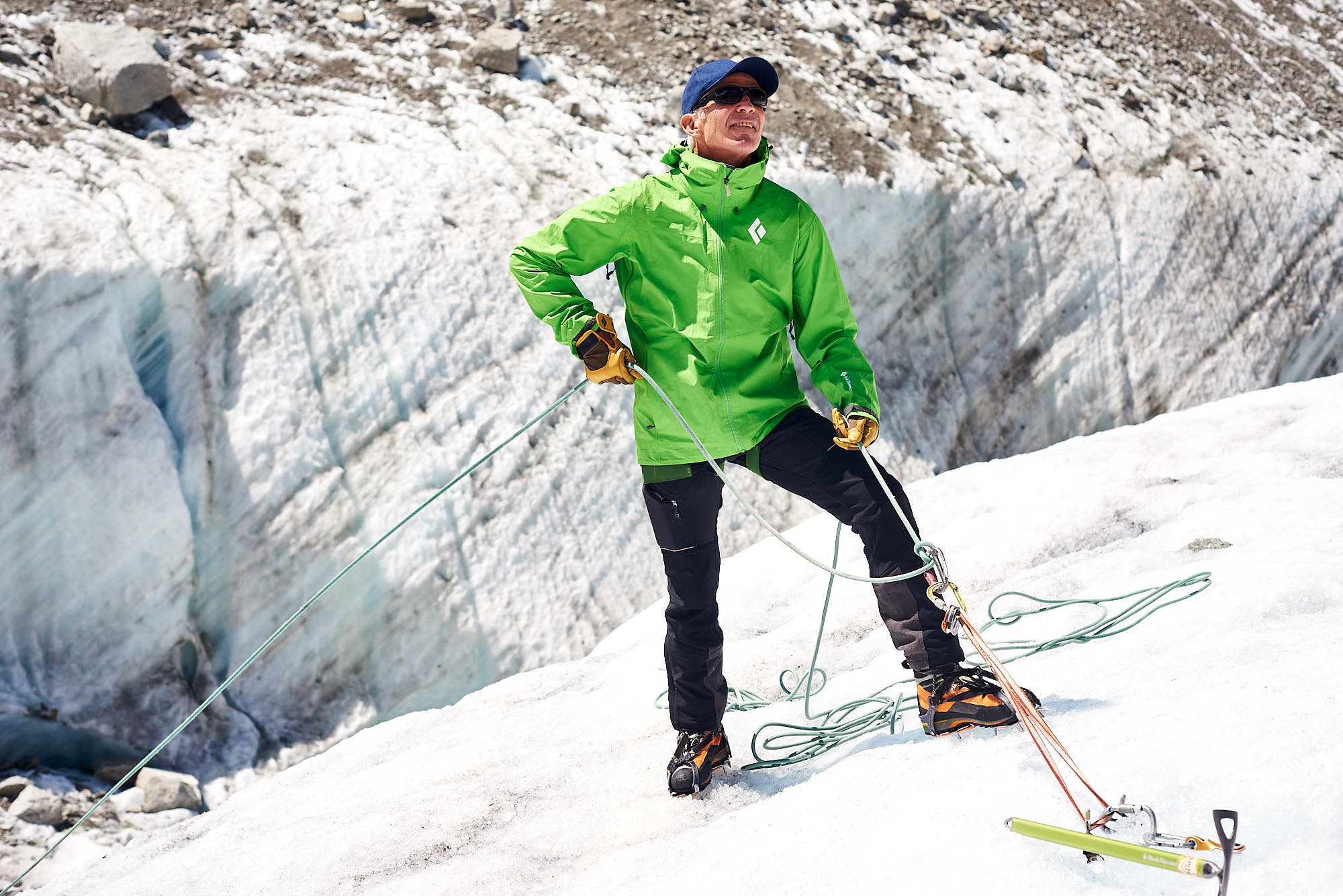 Mountain guide on the Mer de Glace glacier