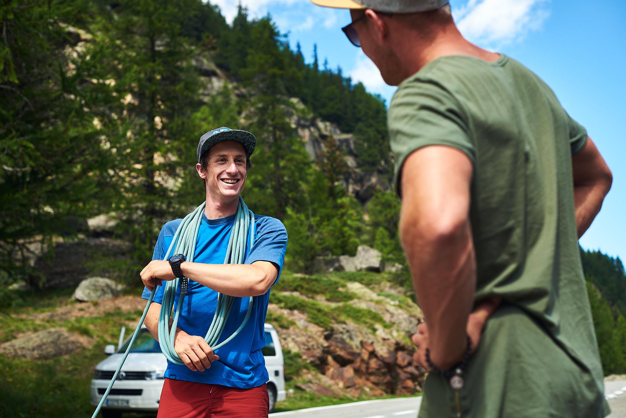 Mountain guide preparing his alpine gear in Italy