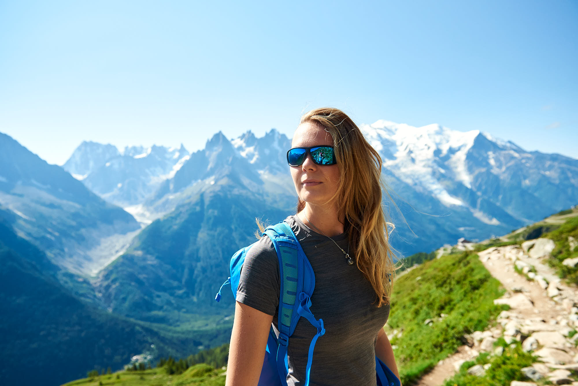 Female hiker in front of Mont Blanc