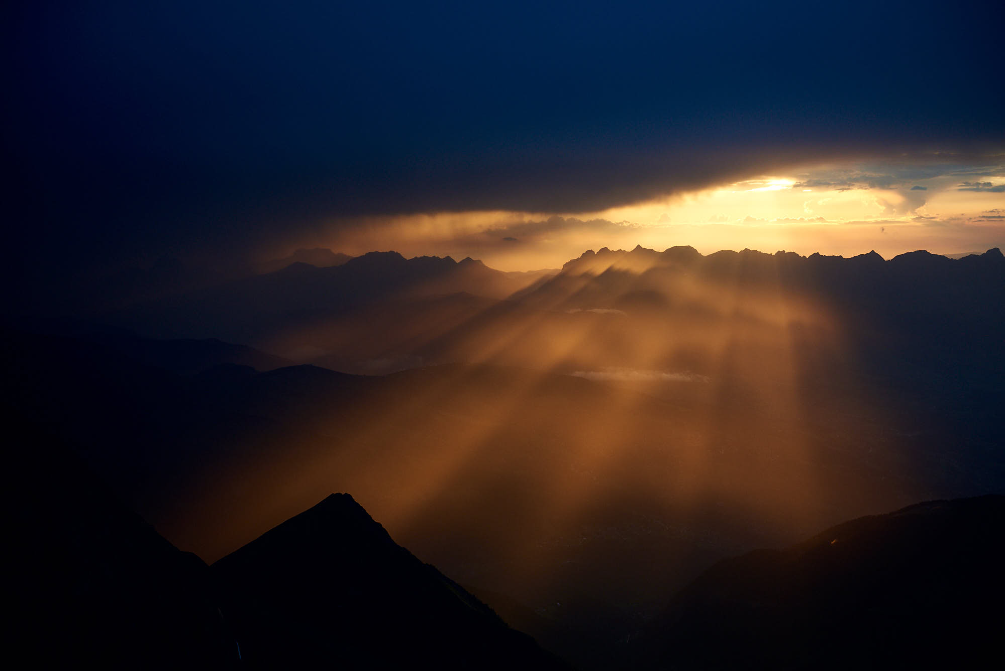 Epic sunset near Mont Blanc in France