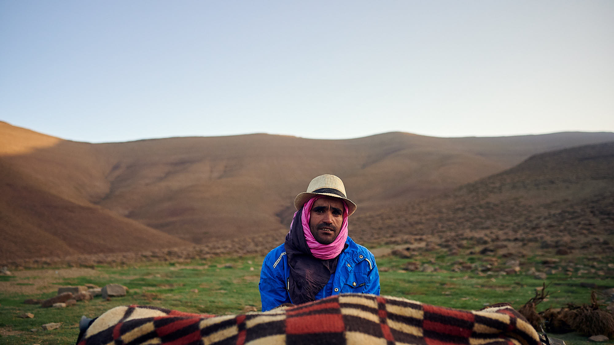Portrait of a Berber mule driven in the Moroccan High Atlas