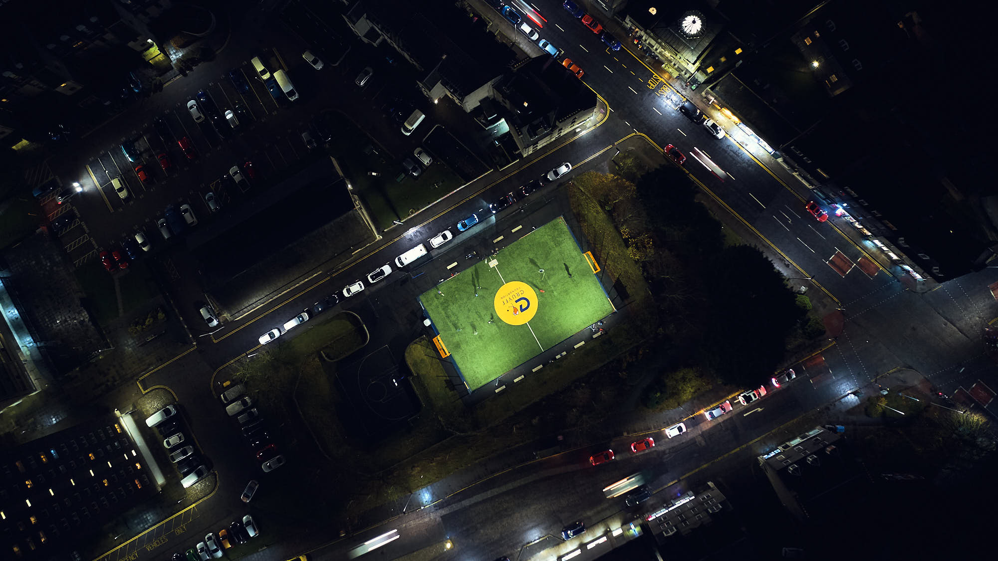 Aerial view of a Cruyff Court by night in Aberdeen, Scotland