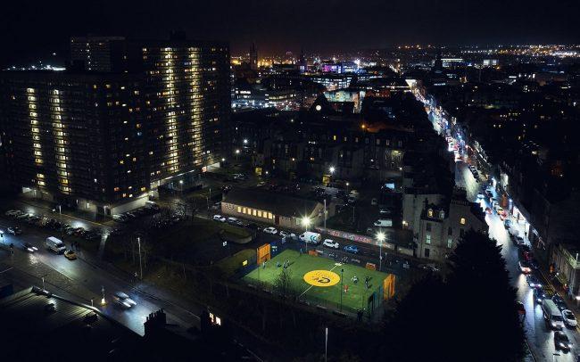 Nightly aerial view of a Cruyff Court in Aberdeen, Scotland