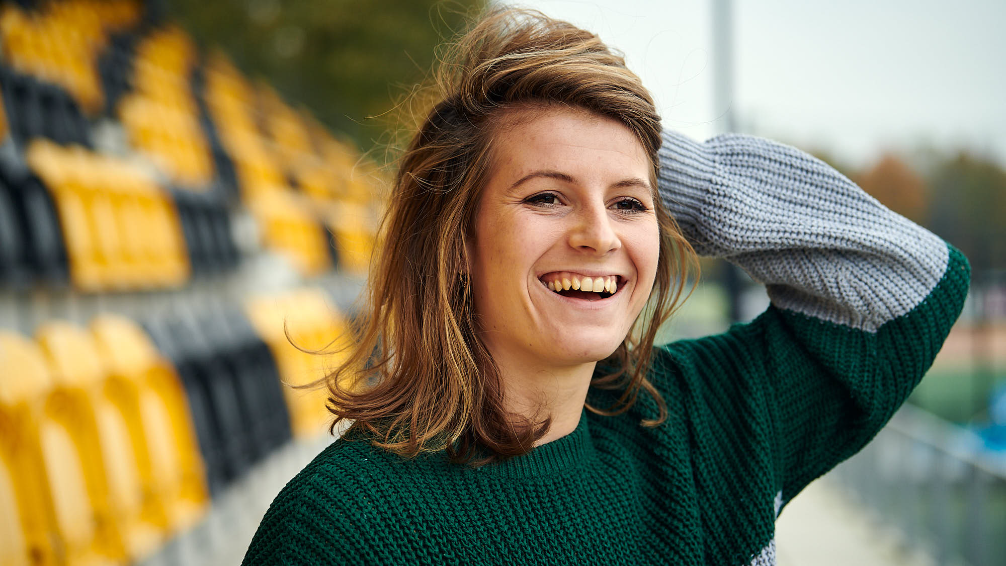 Portrait of Dutch national women's hockey team keeper Josine Koning