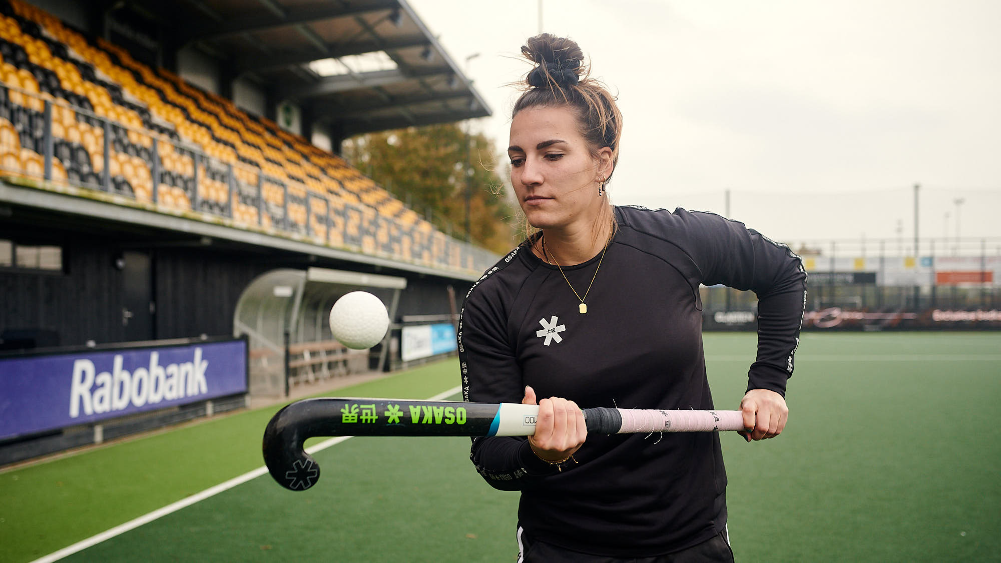 Dutch hockey player Frédérique Matla handling a ball